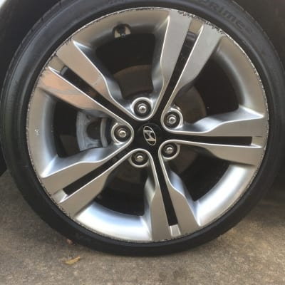 Hyundai Veloster Chrome Alloy Wheel Damage